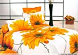 DIAIDI,Printing Sunflower Bedding Set,Painting Sunflower Oil Bedding Set,Unique 3D Bedding,Queen,4Pcs (1)