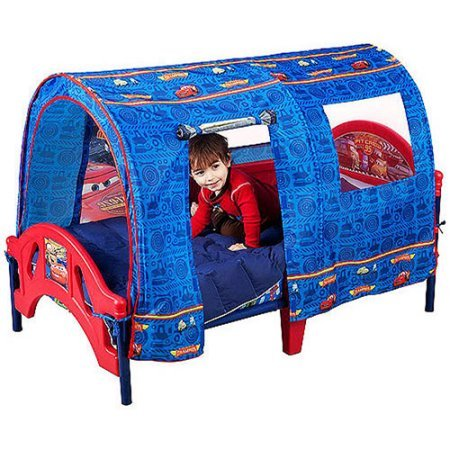 Disney Cars Durable Toddler Bed with Tent and 2 Secure Side Rails (Sesame Street Party Big Bird Lunch Napkins)