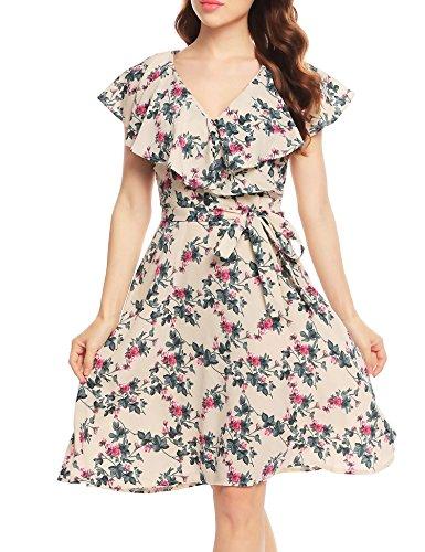 - ACEVOG Women's Short Sleeve A-Line Ruffle Floral Belted Wrap Flare Dress (Pattern 1,M)
