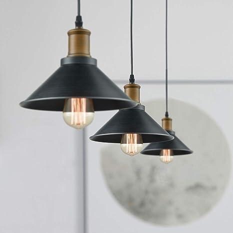 CLAXY Metal Vintage Lámpara Colgante Rústica Lámpara de Techo Retro Iluminación Pendiente Industrial Edison E27, 3 Piezas