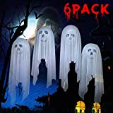 leegleri 6 Pack Halloween Tulle Balloons Decorations 12 Inch White Latex Ghost Party Balloons for Indoor,Outdoor,Wall,Door,Window Halloween Party Decor Supplies