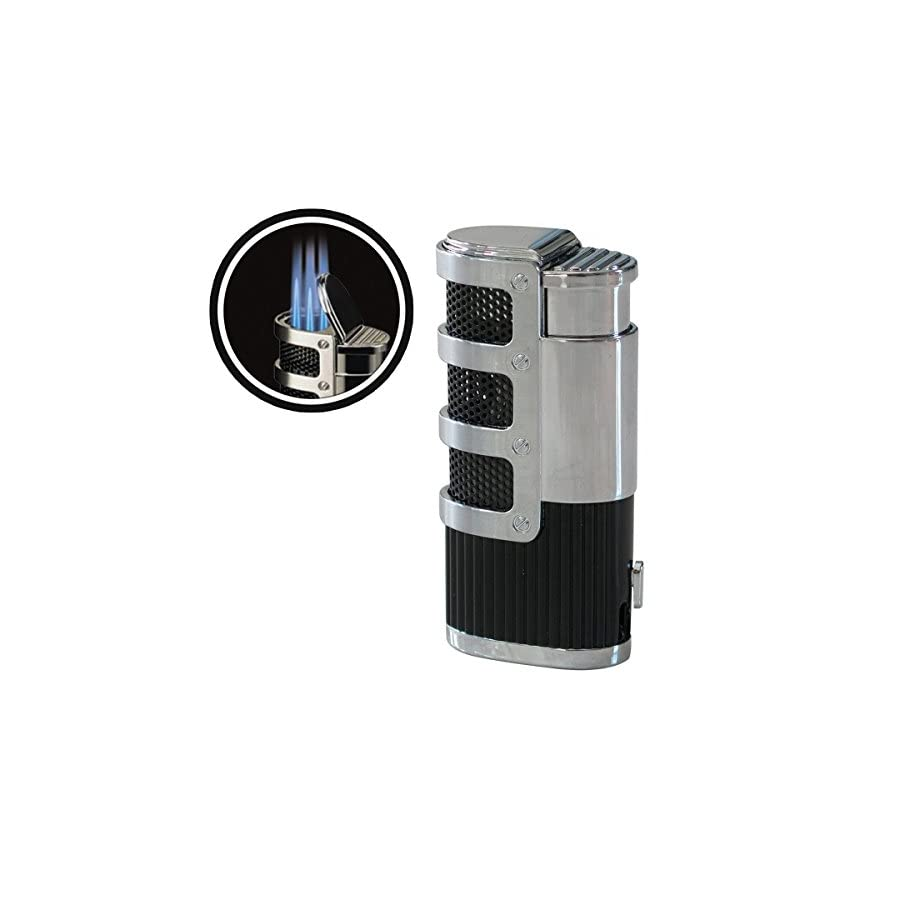 Supernova Triple Jet Flame Torch Windproof Lighter With Punch Cutter Tool for Cigarette Cigars