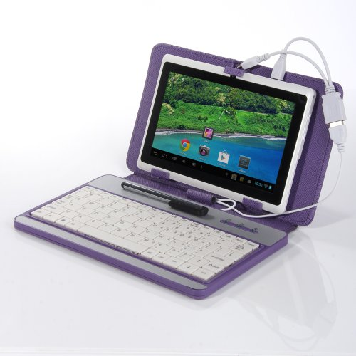 Masione Keyboard and Case for 7-Inch Tablets (7 Inch USB TO Mini/ Micro USB Keyboard, Purple)-Compatible with Samsung Tab 3 8.0,Samsung Tab Pro,Google Nexus 7 2nd Gen