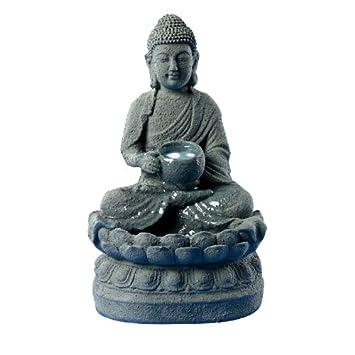 """Bouddha"""" Petite Fontaine D'Intérieur Relaxante Et Zen, Coloris Gris"""