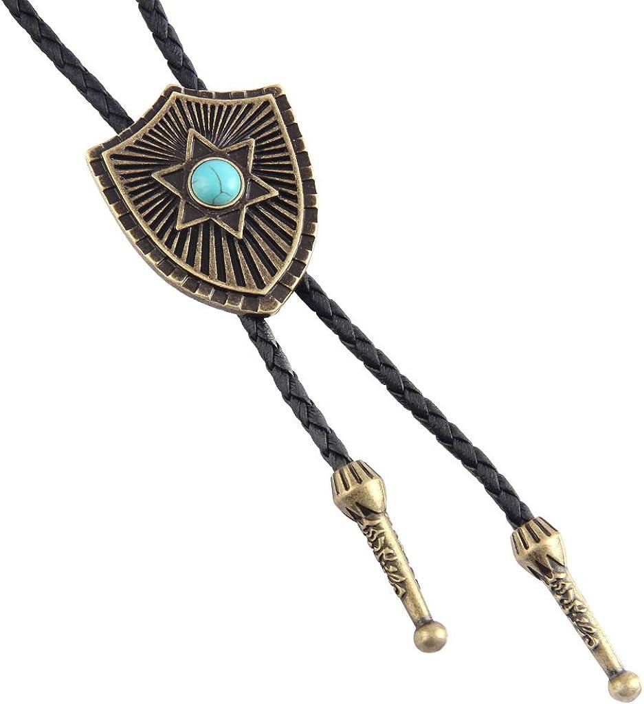 COOLLA Bolo Tie Halskette mit Anhänger, amerikanisches Western Design, Vintage Stil, Schild Stern, Türkis, für Damen und Herren