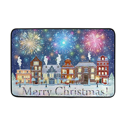 Fantasy Star Play Mat for Kids - Merry Christmas Fireworks and Town Doormat, Living Room Bedroom Kitchen Bathroom Decorative Lightweight Foam Printed Rug - Baby Mats for Playing/Crawling - 3' x 5'