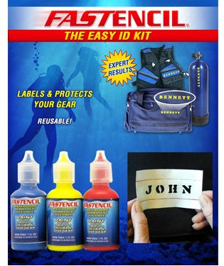 Fastencil Paint Identification Kit to Mark All Your Dive Gear (White)