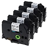 #8: Anycolor 5 Pack Compatible Brother TZe-231 TZ-231 1/2 Inch Laminated TZe Label Tape for Brother P Touch Label Maker PT-D210 PT-H100 PT-D400 PT-D600, Black on White, 0.47 Inch (12mm) x 26.2 Feet (8m)