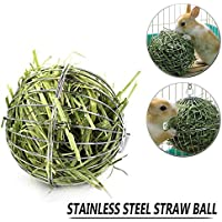 Hay Feeder,Rabbit Pet Hay Ball Sphere Feed Dispenser Food Manger Hanging Treat Toy for Chinchillas Guinea Pig Hamster Rat Rabbit Small Animal,Stainless Steel Frame & Anti-bite with Hanging