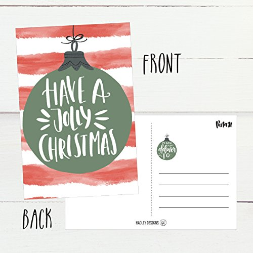 50 Red & Green Holiday Greeting Cards, Cute Fancy Blank Winter Christmas Postcard Set, Bulk Pack of Premium Seasons Greetings Note, Happy New Years for Kids, Business Office or Church Thank You Notes Photo #4