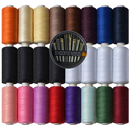 (Polyester Sewing Thread-24 Spools All Purpose Polyester Thread Assortment Sewing kit with Free Set 30 Needles for Hand & Machine Sewing)