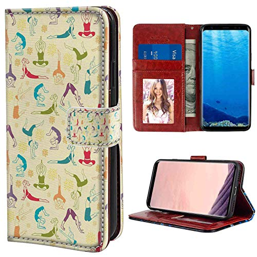 (Samsung Galaxy S8 Wallet Case, Yoga Workout Themed Fitness Girls Pattern Abstract Meditation Postures Arrangement Asian Multicolor PU Leather Folio Case with Card Holder and ID Coin Slot)