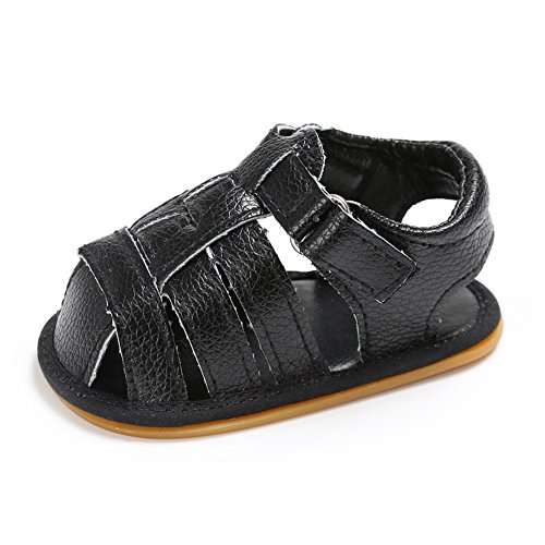 Lidiano Baby Soft Non Slip Rubber sole Close Toe Sandles Toddler Crib Shoes 0-18 Months (12-18 Months, Black)