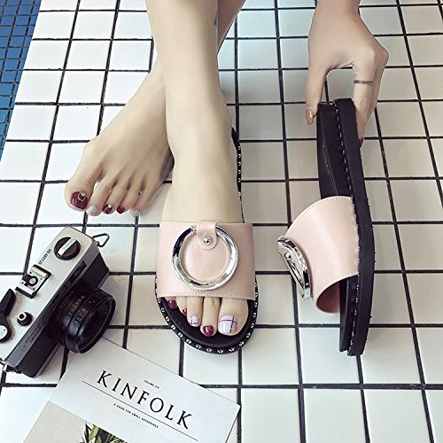 AJUNR Moda/elegante/Transpirable/Sandalias Zapatillas casual salvaje ranurado simple calzado de playa 3cm de base plana de color rosa 38 40