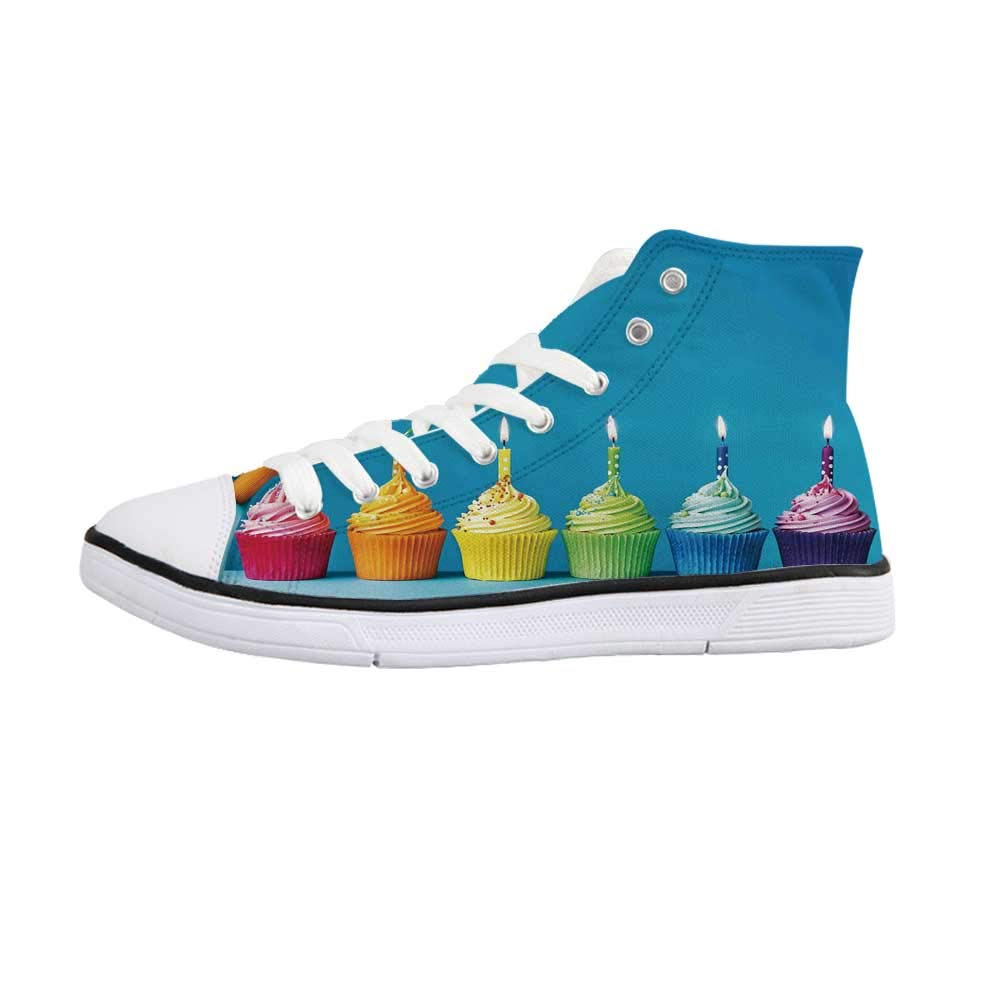 Birthday Decorations Comfortable High Top Canvas Shoes,Cupcakes in Rainbow Colors with Candles Fun Homemade Party Food Sweet for Women Girls,US 6.5 by YOLIYANA