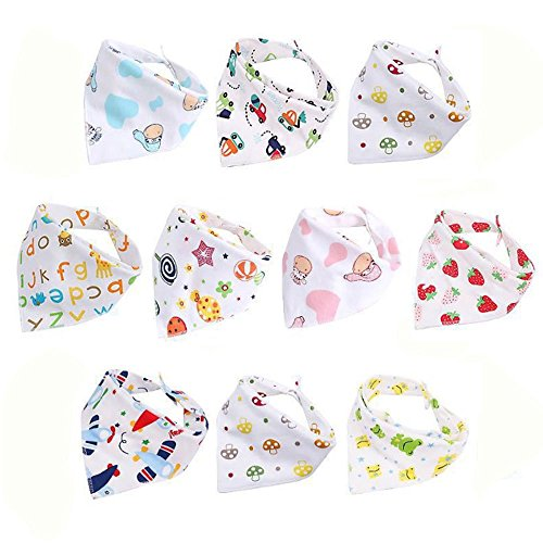 on Baby Bib (10Pcs) Boy And Girl Waterproof Drool Cloth Can Adjust The Neck (Suitable For 1-3 Years Old Baby) ()