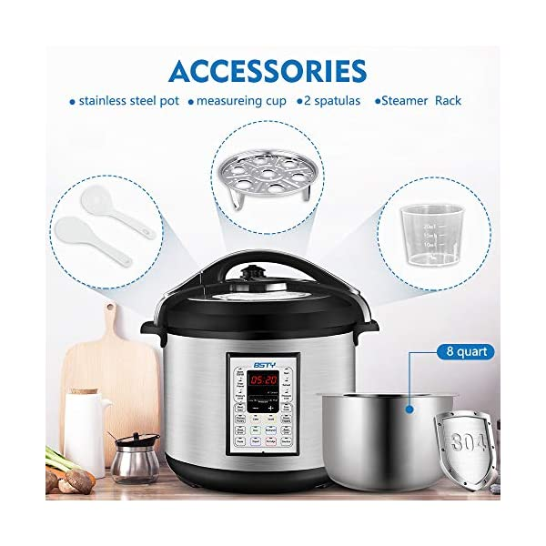 BSTY Electric Pressure Cooker with 13-in-1 Cooking Functions, Programmable 8Qt Slow Cooker with Stainless Steel Inner… 3