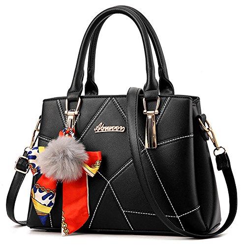for Purses Bags Handbags Black Women Tote Shoulder and PU p1Eq1gU