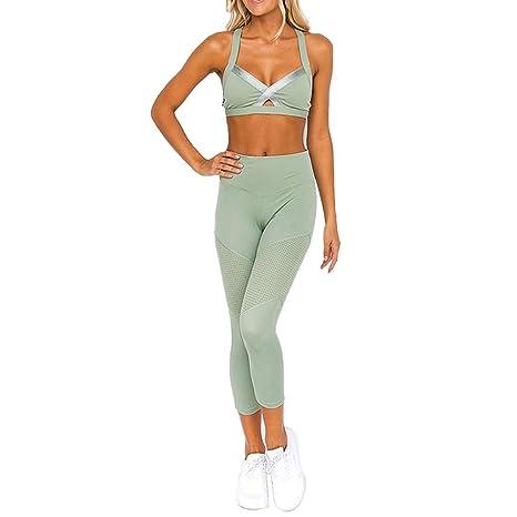 CYJJJK Pantalones de Yoga Jogging, sin Mangas, de Color Liso ...