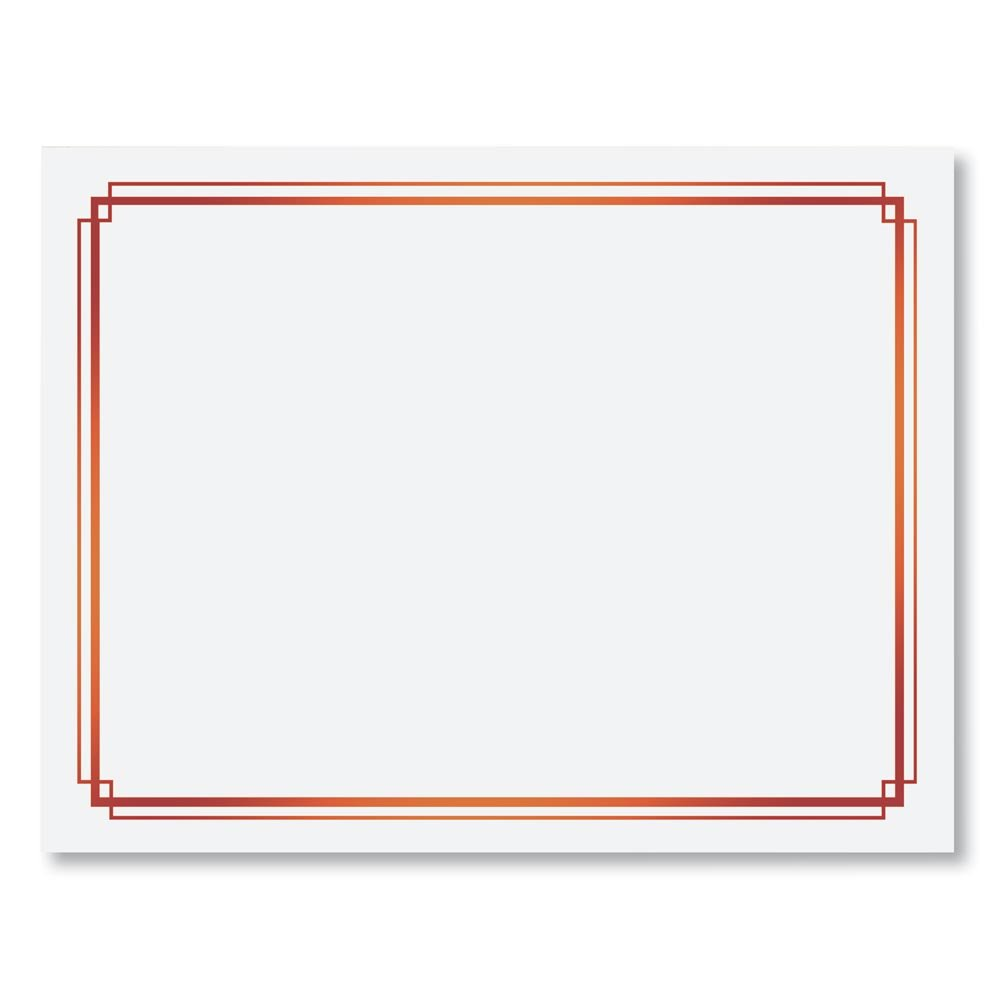 White with Red Foil Border Specialty Certificates, 8.5 Inches x 11 Inches, 50 Sheet Count