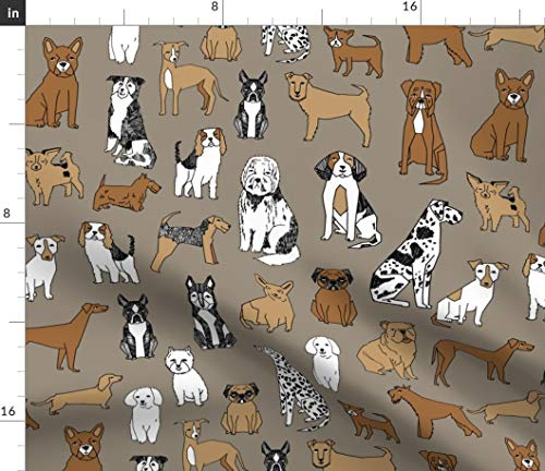 Jack Russell Bichon - Spoonflower Bichon Fabric - Bichon Dog Puppy Husky Jack Russell Weiner Dog Shih Tzu Print on Fabric by The Yard - Petal Signature Cotton for Sewing Quilting Apparel Crafts Decor
