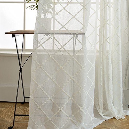 pureaqu Embroidered Lattice Pattern Semi Sheer Curtain For French Door Extra Wide Rod Pocket Top Geometric Window Curtain Sheer Panels For Bedroom/Sliding Glass Door 1 Panel W100 x H96 Inch