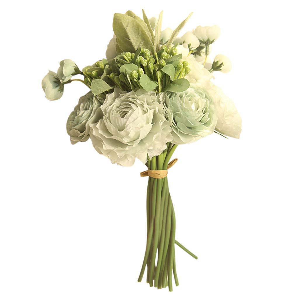 Ramos de novia artificial floral elegante boda Yesmile ❤️ Multicolor Rosa fantasma Peon/ía Seda superior Ramo de flores individual Decoraci/ón de la boda