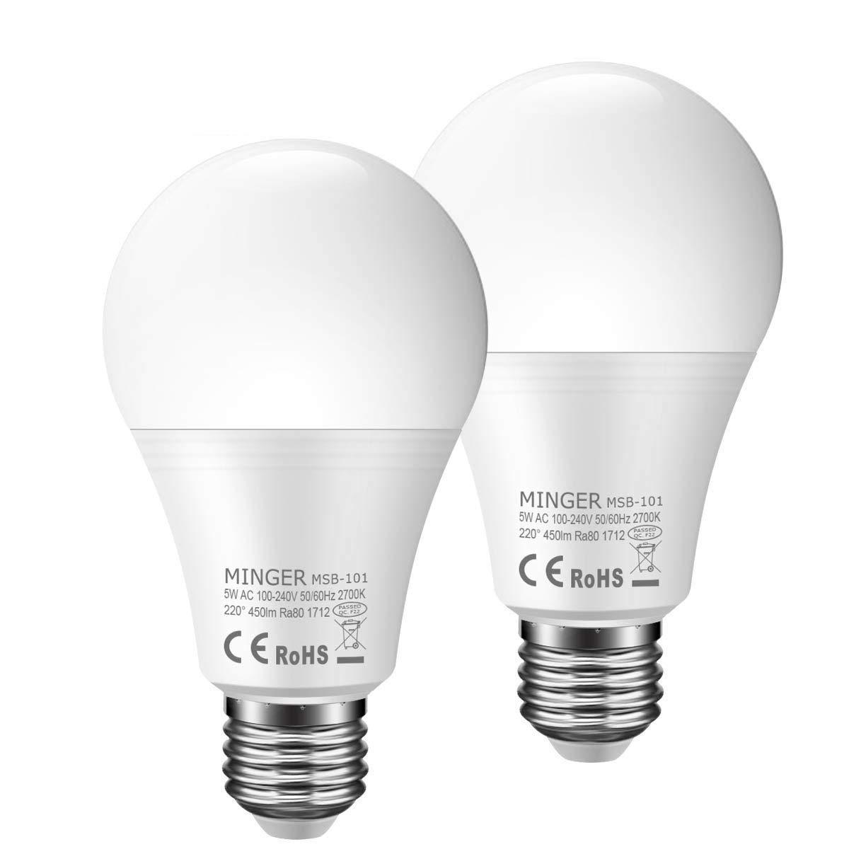 new concept b1d1e 5a0ef Motion Sensor Light Bulb 5W, 50W Equivalent Smart Bulb Radar LED Motion  Sensor Light Bulbs E26 Base Indoor Sensor Night Lights Soft White 2700K ...
