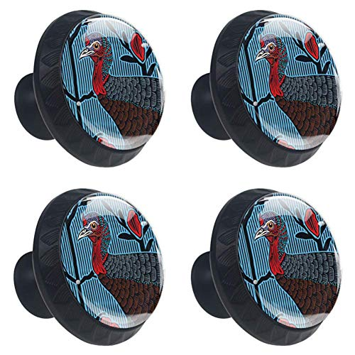 (Idealiy Wild Turkey Female Drawer Pulls Handles Cabinet Dressing Table Dresser Knob Pull Handle with Screws 4pcs)
