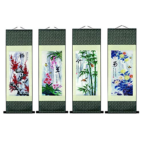 UNIQUELOVER Asian Silk Scroll & Picture Scroll & Wall Scroll Calligraphy Hanging Artwork-Bamboo Plum Blossom ()