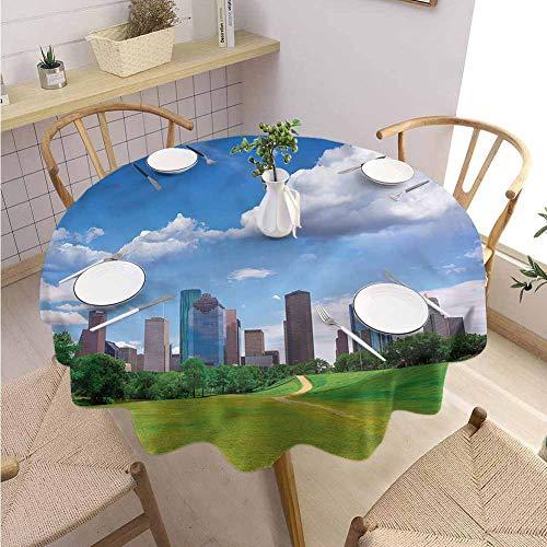 BNAREO Garden Round Tablecloth USA Houston Texas Modern Skyscraper Wedding Patio Dining Dorm D67 (Restaurants Outdoor Houston Patio)