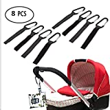 Stroller Hook Clips, 2/8 Pcs Multi-purpose Adjustable Black Magic Sticker Buggy Clip Carabiner Suitable for All Kinds of Baby Car Pushchair Daily Supplies (8Pcs)