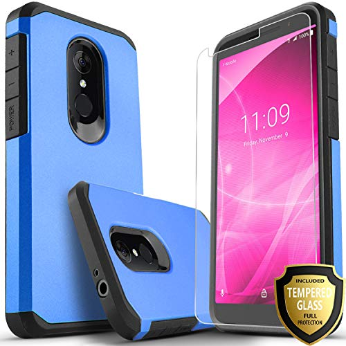 Revvl 2 Case (T-Mobile) Included [Tempered Glass Screen Protector], Star Absorption Drop Protection Dual Layers Impact Advanced Rugged Protective Phone Cover-Blue