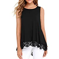 Jescakoo Womens Summer Casual Sleeveless Tops Lace Trim A-Line Flowy Tank Tops