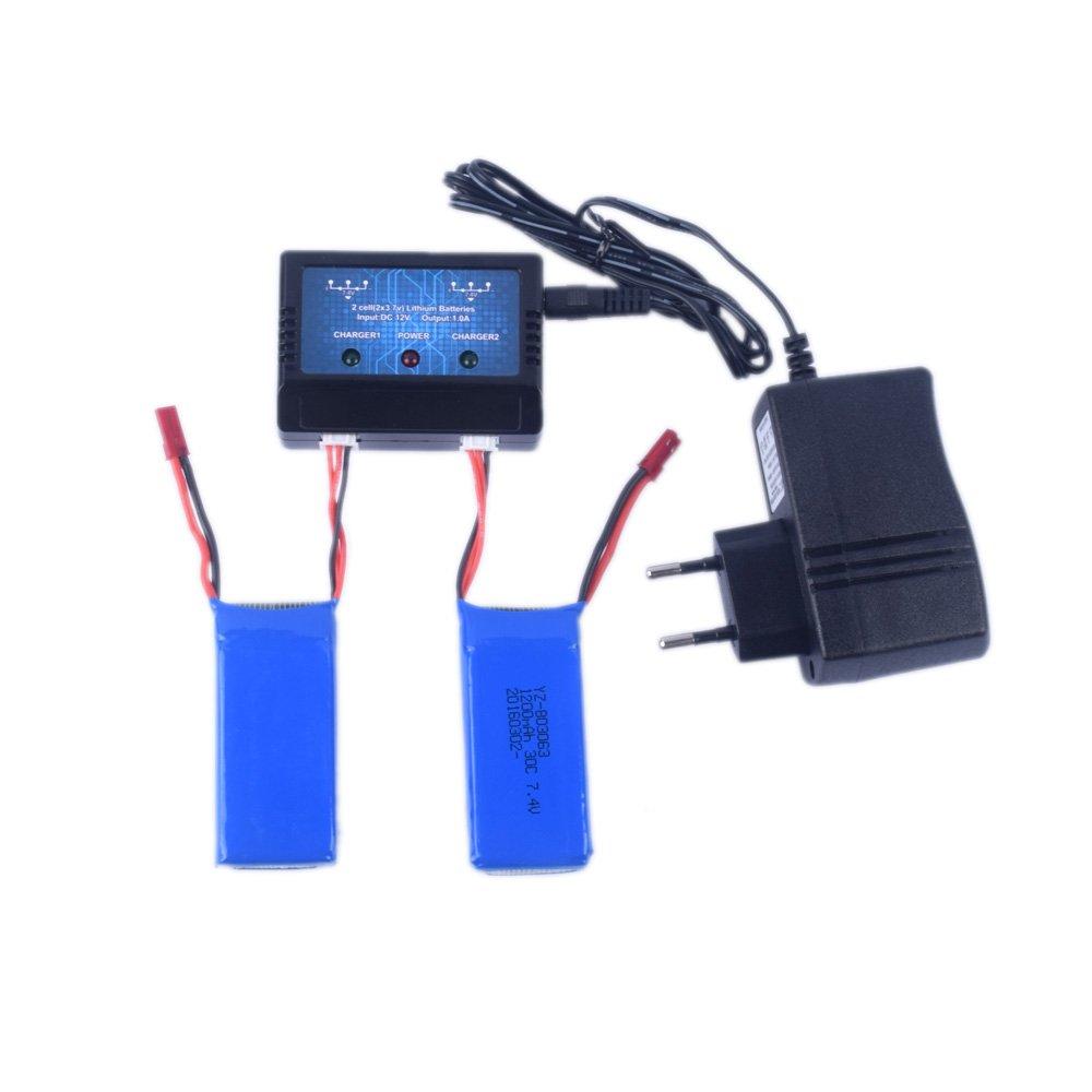 YouCute Cargador de 1to2 y 2 pedazos 7.4V 1200mAh baterías para ...