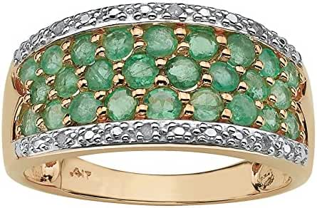 Round Genuine Green Emerald with Diamond Accents 10k Yellow Gold Ring