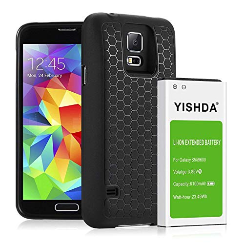YISHDA Galaxy S5 Battery, 6100mAh Replacement Samsung Galaxy S5 Battery with Back Cover & TPU Case for I9600 G900F G900V G900T G900A Phone | Samsung S5 Battery Extended [18 Month Warranty]