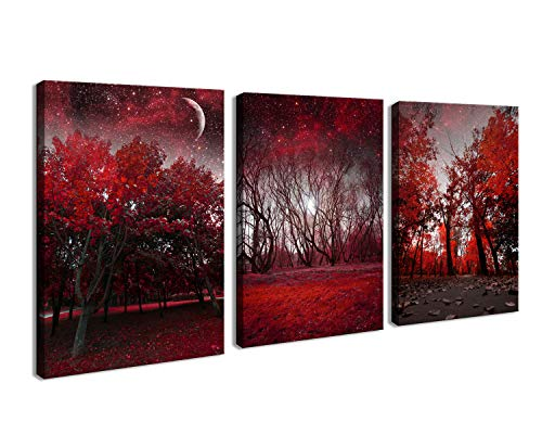 Cao Gen Decor Art-AH40346 Canvas Prints 3 Panels Framed Wall Art Red Trees Paintings Printed Pictures Stretched for Home Decoration (Art Red Canvas)