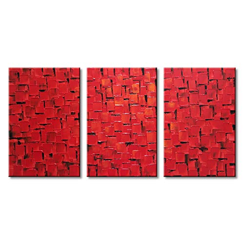 (Black and Red Abstract Wall Art Hand Painted Textured Oil Painting on)
