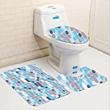 Keshia Dwete three-piece toilet seat pad customAbstract Grunge Retro Stylish Pattern with Circles Large Dots Rounds Artwork Light and Sky Blue Mauve