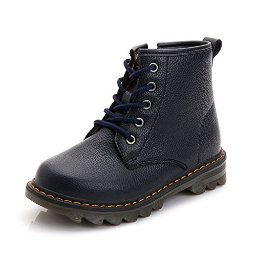 CYBLING Kids Waterproof Leather Lace Up Combat Boots Boys Girls Hiking Ankle Boots Winter Warm Shoes