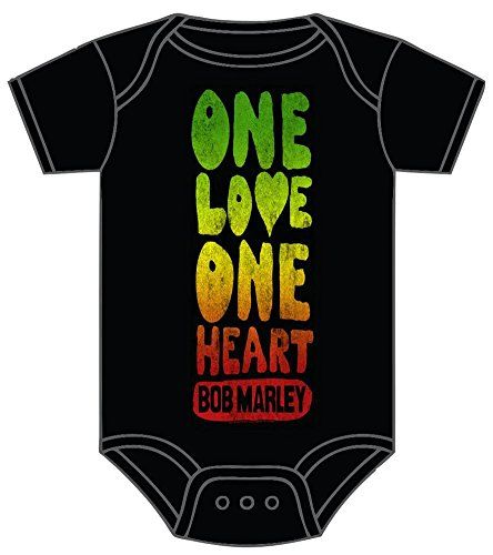 Bob Marley One Love Heart Baby Infant Snapsuit Romper 18M Black ()