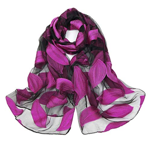 yingyue Fashion Flower Pattern Comfortable Breathable Organza Scarf Women Outdoor Travel Scarf Shawl Gift Dark Rose Red