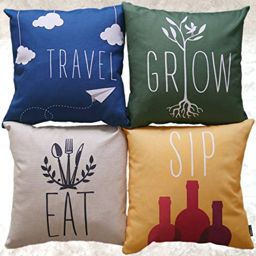 (BrigHaus Throw Pillow Covers Set of 4 | Throw Pillow Set Fits 18x18 & 20x20 Pillows | Linen Polyester | Hipster Quotes Sofa Cushion Cases with Zipper for Couch or Bed)
