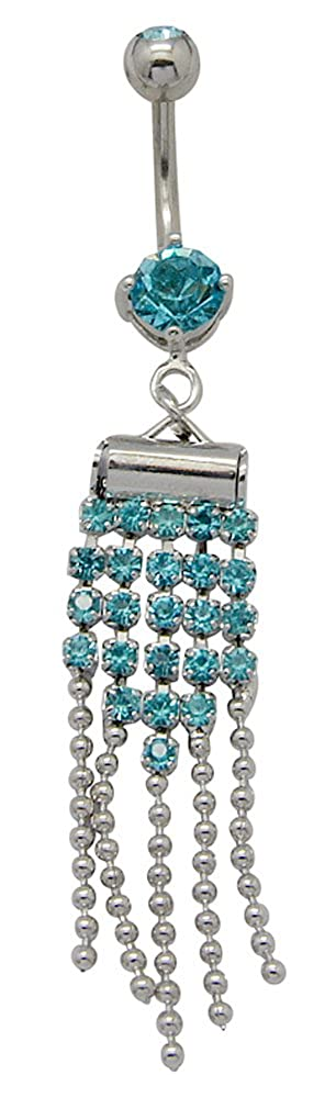 Pretty dangle belly button ring with CZ crystals