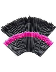 GoWorth 200 PCS Disposable Eyelash Mascara Brushes Makeup Brush Wands Applicator Makeup Kits(Rose Red & Black)