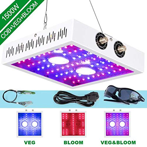 COB LED Grow Light 1500W Full Spectrum, Double Chips with UV and IR, LED Plant Light with Adjustable Bloom and Veg Knobs for All Indoor Greenhouse Plants (Led Grow Light Watts Per Square Meter)