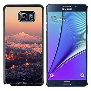 KLONGSHOP // Cubierta de piel con cierre a presión Shell trasero duro de goma Protección Caso - Montaña Nevada Sunset - Samsung Galaxy Note 5 5th N9200 //