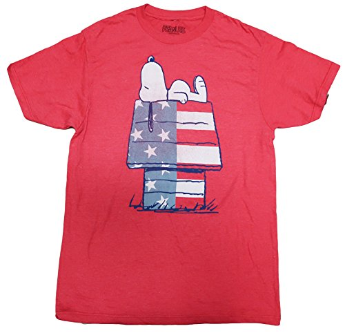 Mens Peanuts Snoopy American Flag House T-shirt