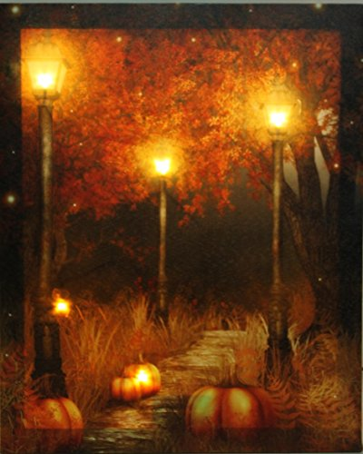 Oak Street Wholesale LED Lighted Pumpkin Fall Scene Canvas Wall Art Harvest (17x14x1 (Wholesale Pumpkin)